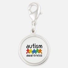 Autism Awareness Silver Round Charm
