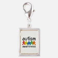Autism Awareness Silver Portrait Charm