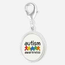 Autism Awareness Silver Oval Charm