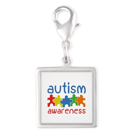 Autism Awareness Silver Square Charm