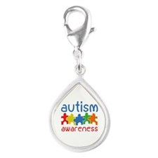 Autism Awareness Silver Teardrop Charm