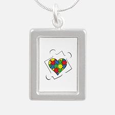 Autism Awareness Silver Portrait Necklace