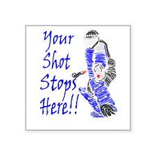 Field Hockey Goalie Rectangle Sticker - Blue Stick