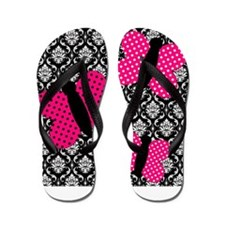 Hot Pink Butterflies on Damask Flip Flops