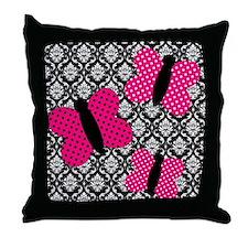 Hot Pink Butterflies on Damask Throw Pillow