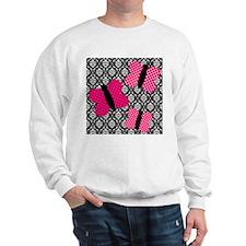 Hot Pink Butterflies on Damask Sweatshirt