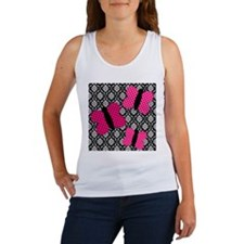 Hot Pink Butterflies on Damask Tank Top