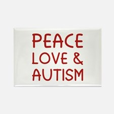 Peace Love & Autism Rectangle Magnet (10 pack)