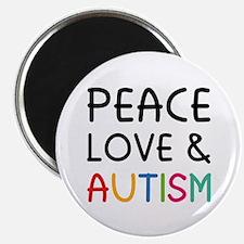 "Peace Love & Autism 2.25"" Magnet (10 pack)"