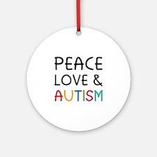 Peace Love & Autism Ornament (Round)