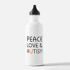 Peace Love & Autism Water Bottle