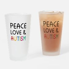 Peace Love & Autism Drinking Glass