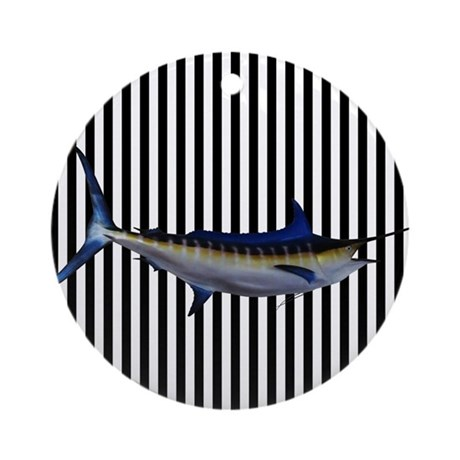 Blue Marlin on Black and White Stripes Ornament (R