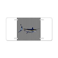 Blue Marlin on Black and White Stripes Aluminum Li