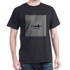Blue Marlin on Black and White Stripes T-Shirt