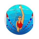 Swimmer Round Ornaments