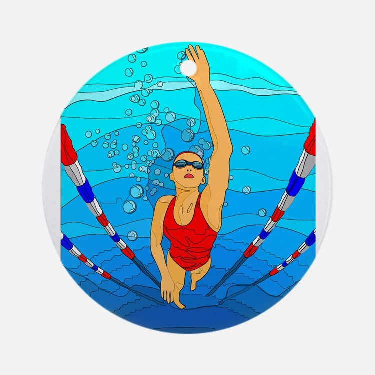 Woman swimming Ornament (Round)