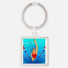 Woman swimming Keychains