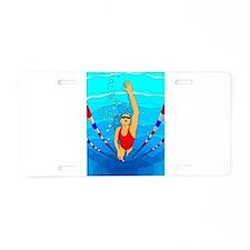Woman swimming Aluminum License Plate
