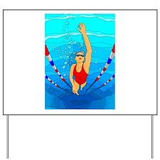 Woman swimming Yard Sign