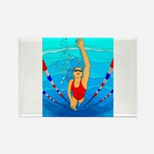 Woman swimming Rectangle Magnet (100 pack)