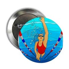 """Woman swimming 2.25"""" Button (100 pack)"""