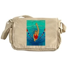 Woman swimming Messenger Bag