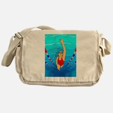 Woman swimming Messenger Bag