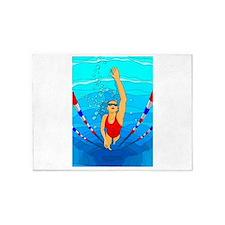 Woman swimming 5'x7'Area Rug