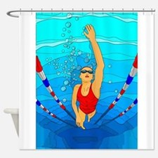 Woman swimming Shower Curtain