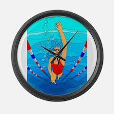 Woman swimming Large Wall Clock