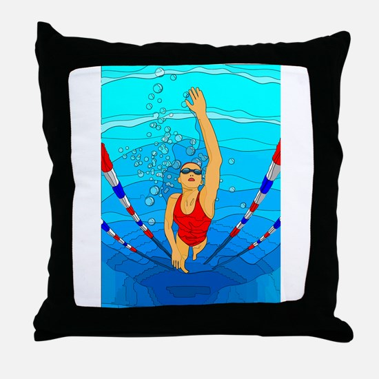 Woman swimming Throw Pillow