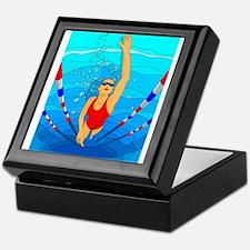 Woman swimming Keepsake Box