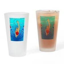 Woman swimming Drinking Glass