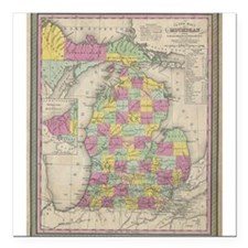 "Vintage Map of Michgan Square Car Magnet 3"" x 3"""