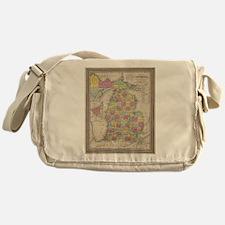 Vintage Map of Michgan Messenger Bag