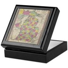 Vintage Map of Michgan Keepsake Box