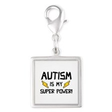 Autism Is My Super Power! Silver Square Charm