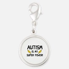 Autism Is My Super Power! Silver Round Charm