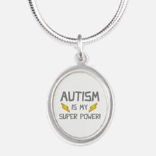 Autism Is My Super Power! Silver Oval Necklace