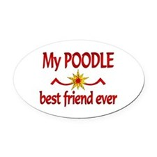 Poodle Best Friend Oval Car Magnet