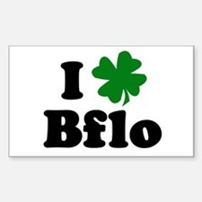 I Shamrock Buffalo Rectangle Decal