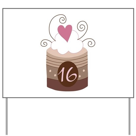 16th Birthday Cupcake Yard Sign