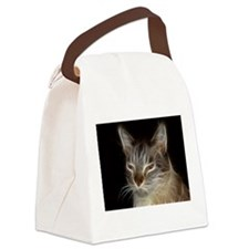 Beautiful Fractal Cat Canvas Lunch Bag