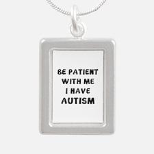 I have autism Silver Portrait Necklace