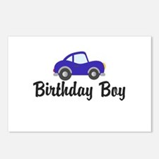 Birthday Boy Blue Car Postcards (Package of 8)