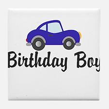 Birthday Boy Blue Car Tile Coaster