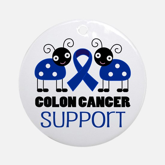 Colon Cancer Support ladybug Ornament (Round)