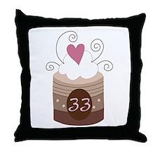33rd Birthday Cupcake Throw Pillow