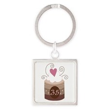 35th Birthday Cupcake Square Keychain